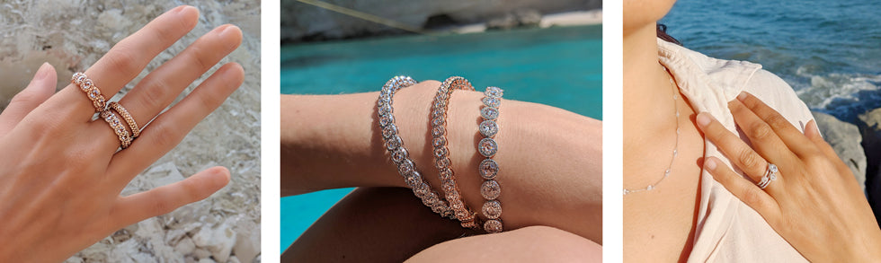 64Facets Scallop Diamond Rings and Bangles being worn in Zakynthos and Los Angeles in the summer