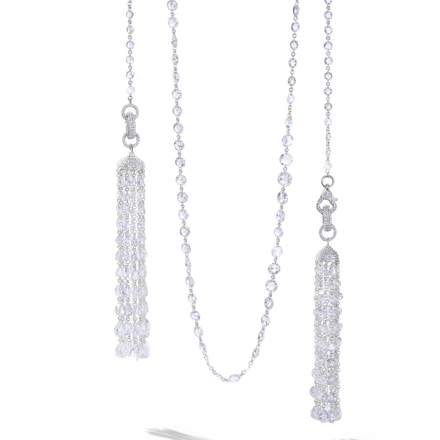 64Facets rose-cut diamond tassels and chain