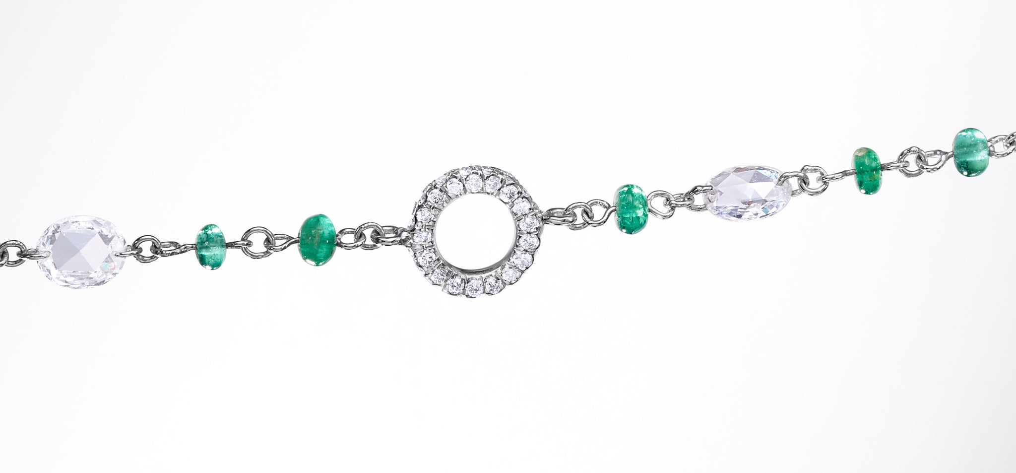 Elements Emerald Cabochon Bead and Rose Cut Diamond Necklace by 64Facets