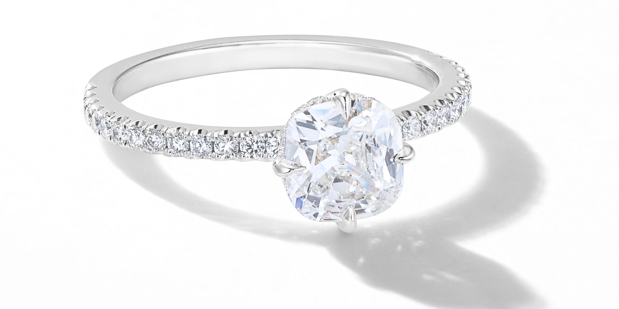 64Facets Custom Made Old Mine Cut Diamond Engagement Ring with Pave Details and 18k Gold