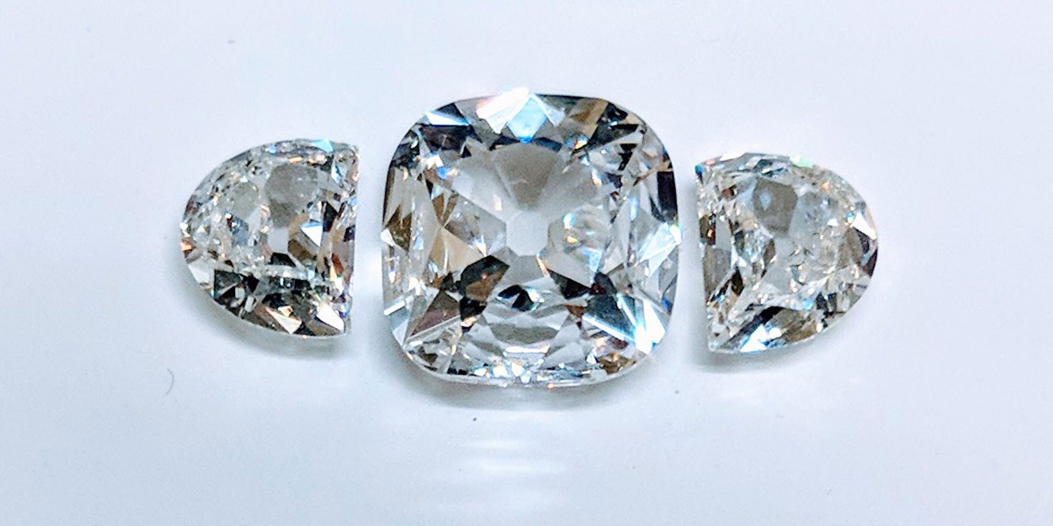 64Facets Old Mine Cut Diamond with Old European Cut Side shields