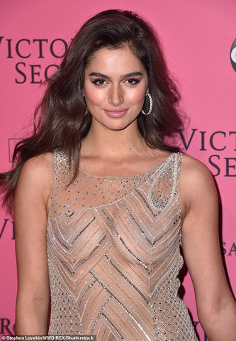 Maia Cotton at Victoria Secret Fashion Show after party in NYC wearing 64Facets diamond hoop earrings