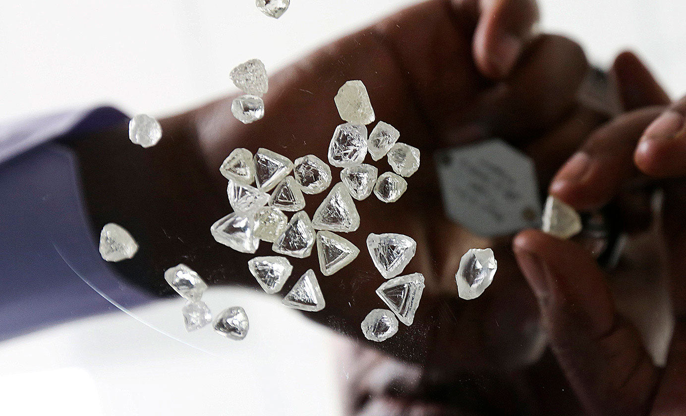Rough diamonds being assessed