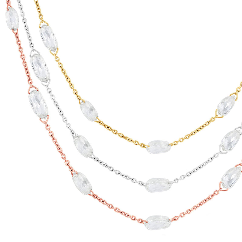 64Facets Briolette Diamond Necklace in 18k Gold