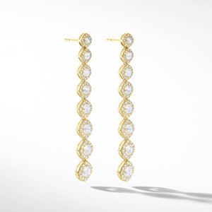 64Facets Diamond Drop Dangle Earrings in 18k Yellow gold. Rose Cut diamond earrings with pave diamond accents.