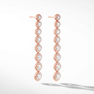 64Facets Diamond Drop Dangle Earrings in 18k rose gold. Rose Cut diamond earrings with pave diamond accents.