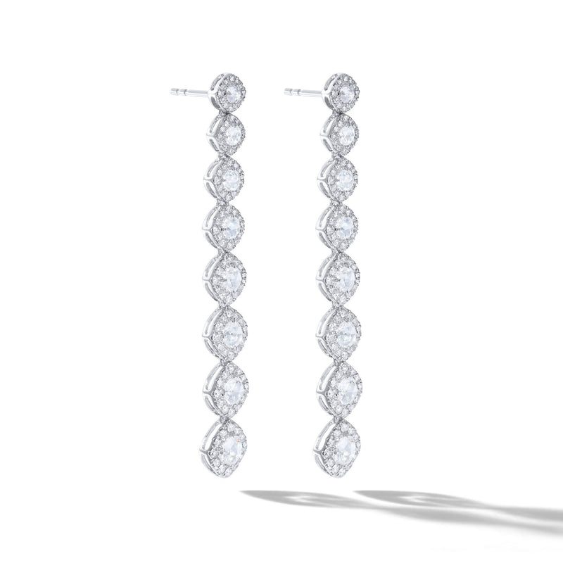 Diamond dangle earrings. Rose cut diamonds with brilliant cut diamonds in a micro pave setting.