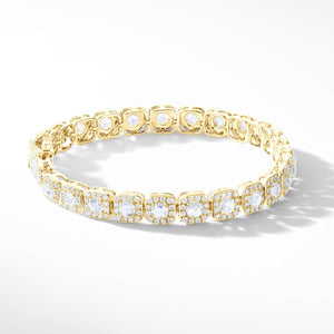 64Facets Diamond Tennis Bracelet. Rose Cut Diamonds are encircled by Pave Diamond Accents in a Cushion Motif. Set in 18K Yellow Gold.