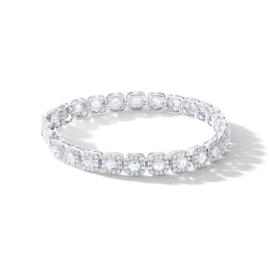 Diamond Tennis Bracelet. Rose cut diamonds accented by micro pave accents in a cushion shape.