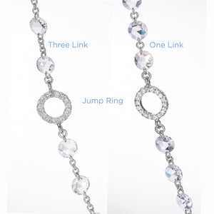 64Facets Rose Cut Diamond Chain Necklace in Platinum and 18K Gold