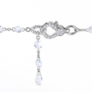 Diamond Lobster Clasp on 64Facets Rose Cut Diamond Chain Necklace in Platinum and 18K Gold