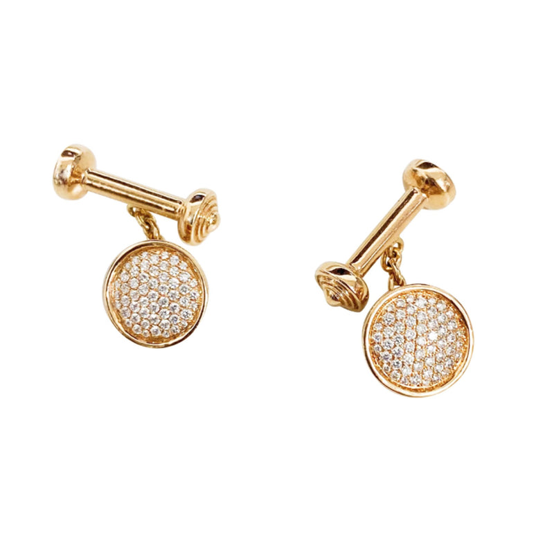 Diamond Pave Cufflinks - Available in White, Rose and Yellow Gold
