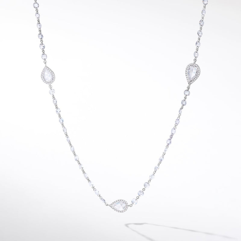 64Facets diamond chain necklace. Round rose cut diamonds are drilled and linked together. Accented by larger rose cut diamonds accented by smaller brilliant cut diamonds set in micro pave.