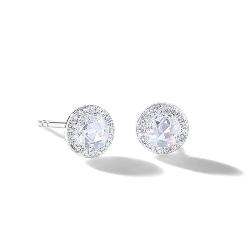 64Facets Rose Cut Dimaond Stud Earrings in 18K White Gold with Pave Accents
