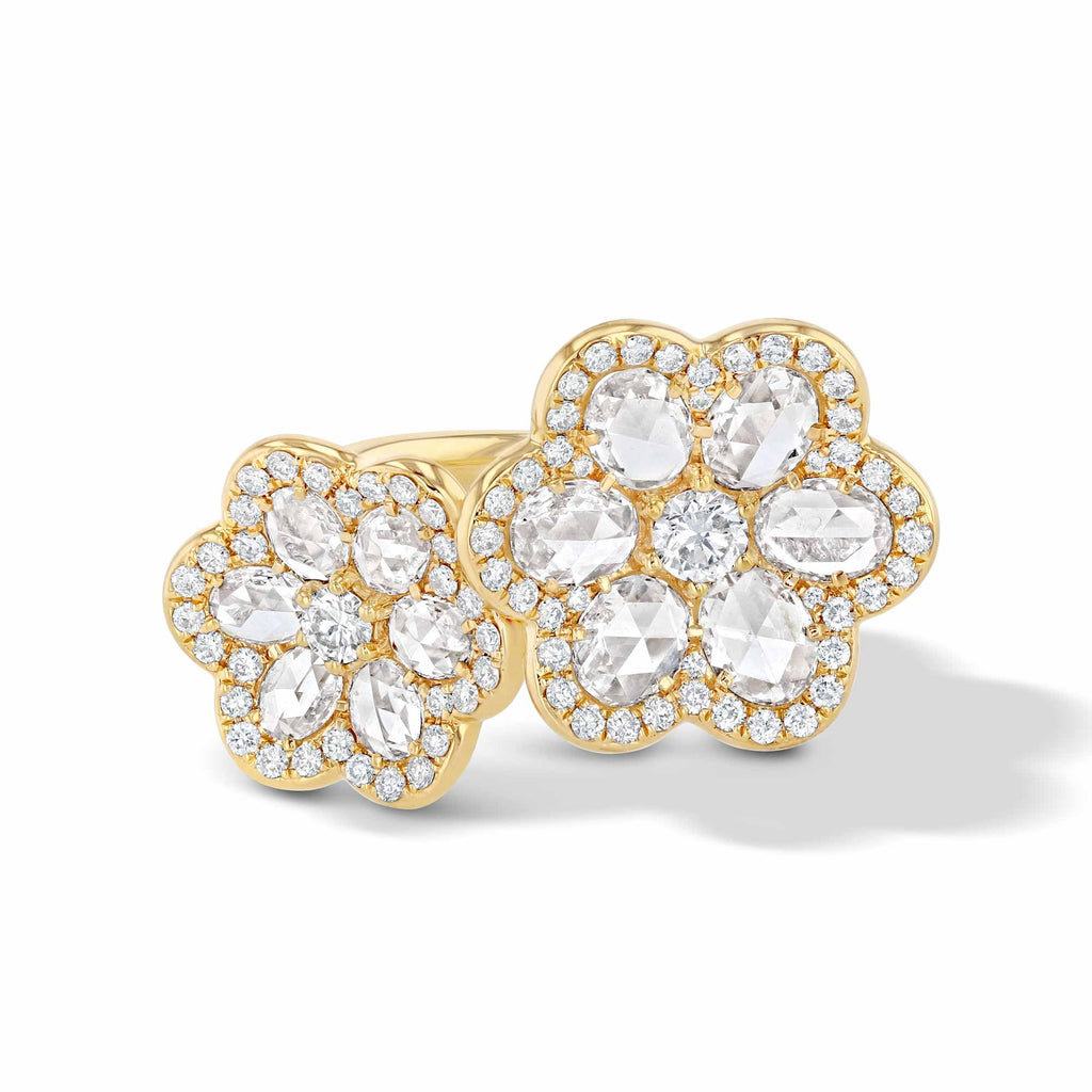 64Facets Double Flower Diamond Ring in 18K Yellow Gold
