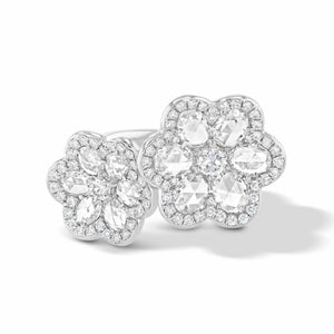64Facets Double Flower Diamond Ring in 18K White Gold
