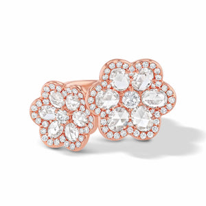 64Facets Double Flower Diamond Ring in 18K Rose Gold