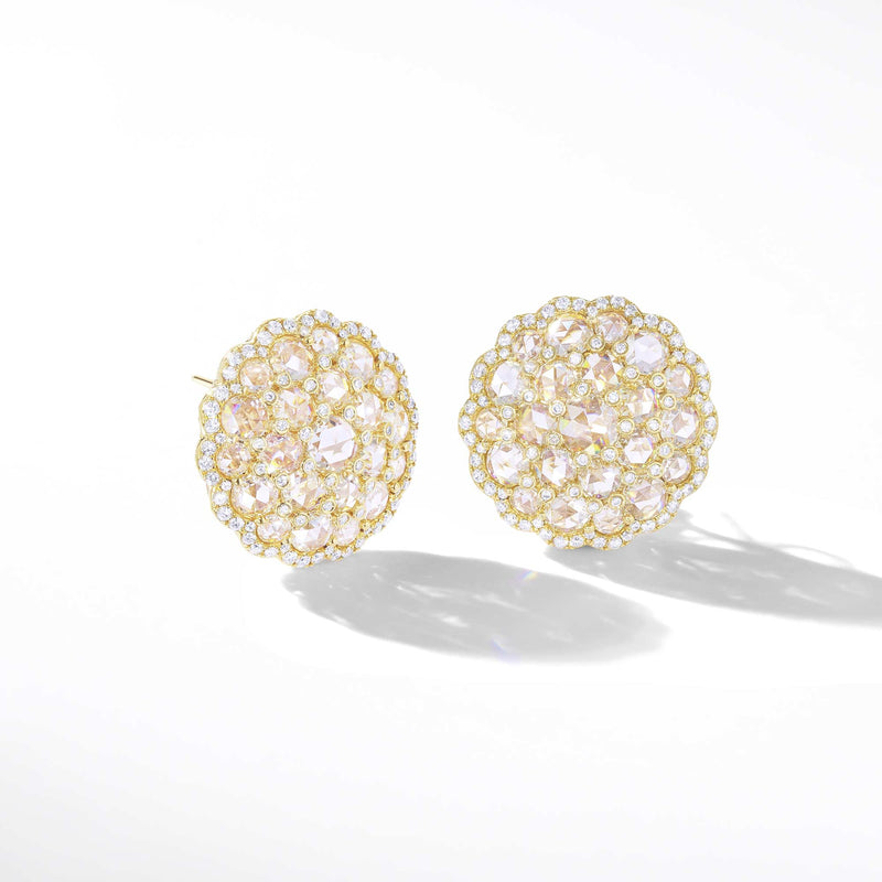 Diamond Cluster Stud Earrings. 64Facets Fine Jewelry. Rose Cut Dimaonds and Brilliant Cut Diamonds. 18K Yellow Gold.