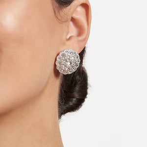 Eclat Diamond Shield Stud Earrings on a model. 64Facets fine diamond jewelry.