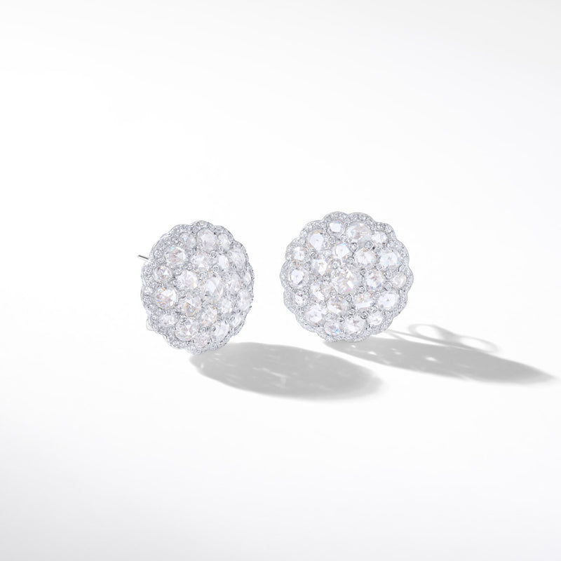 Eclat Diamond Shield Stud Earrings. 64Facets fine diamond jewelry. Rose cut diamonds.