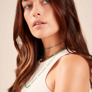 64Facets Elements Emerald Gemstone Cabochon Bead and rose cut diamond chain necklace On beautiful Girl