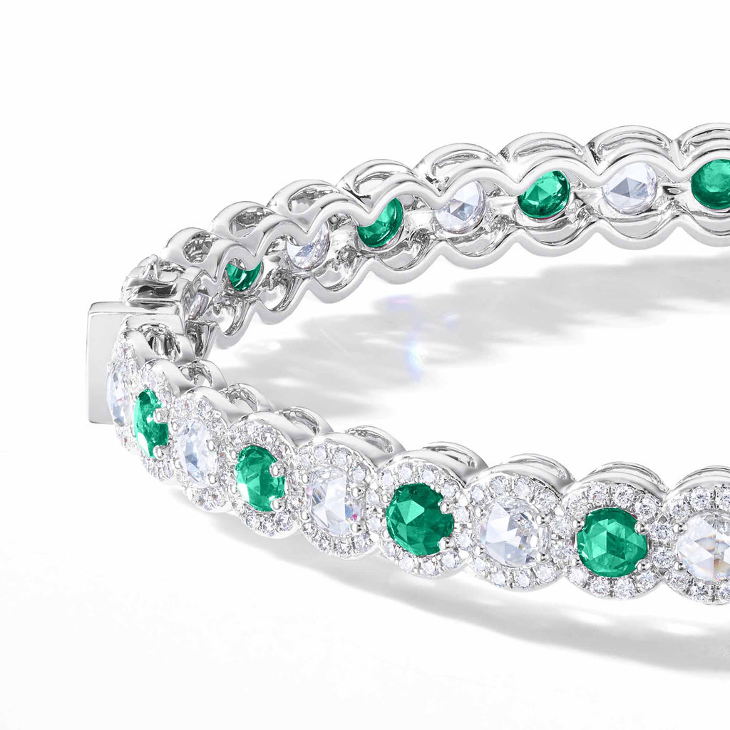 64Facets Emerald Diamond Bangle Bracelet 18K Gold