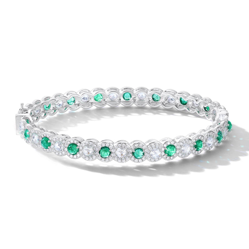 64Facets Emerald and Diamond Bangle Bracelet in 18K Gold