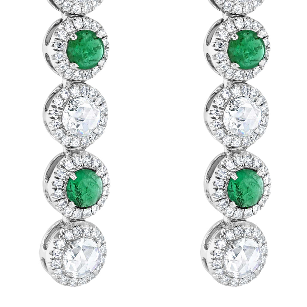 64Facets Emerald and Diamond Drop Dangle Earrings 18K Gold