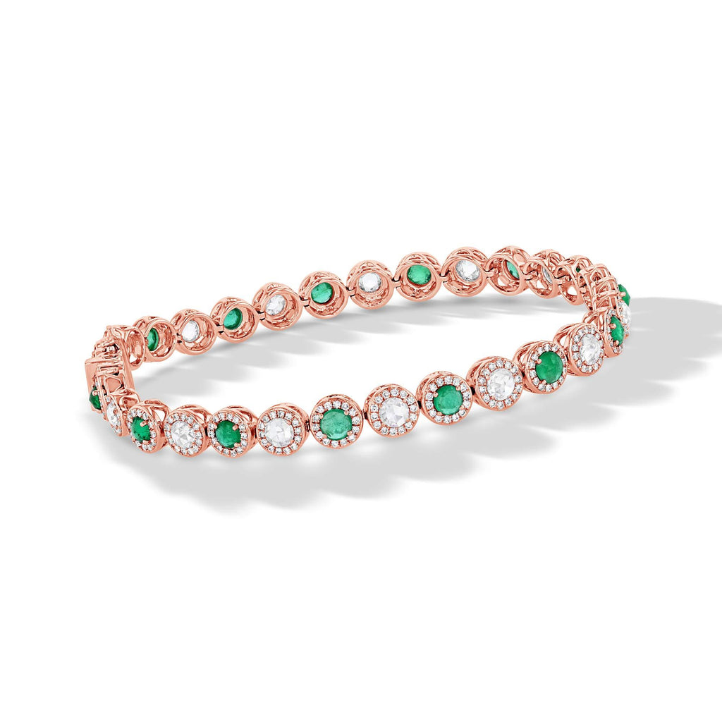 64Facets Emerald and Diamond Tennis Bracelet in 18K Gold