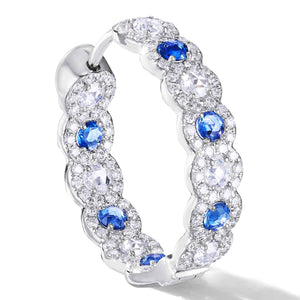 64 facets Elements Rose Cut Sapphire and Diamond Hoop Earrings in Micro Pave setting in 18K Gold