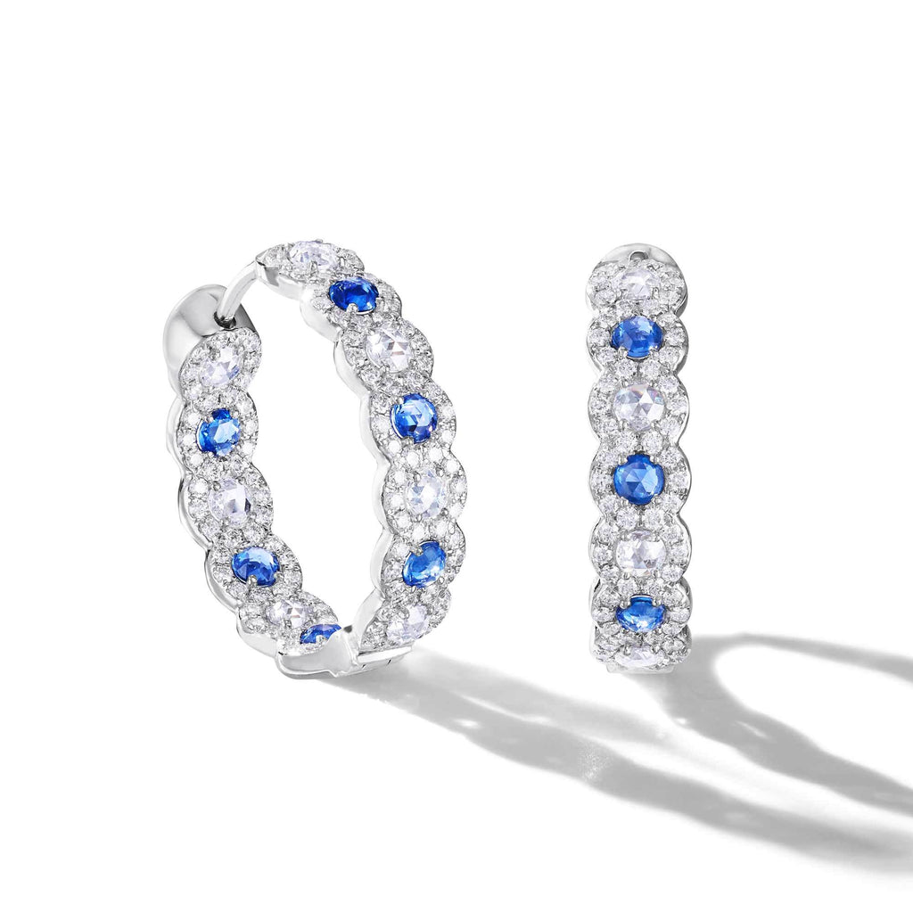64Facets rose cut sapphire and diamond hoop earrings with pave diamond accents and 18k white gold