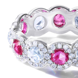 64 Facets Elements rose cut ruby and diamond band in 18K gold with a diamond pave setting