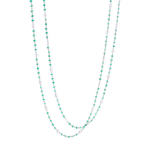 64Facets Elements Gemstone Cabochon Bead Necklace with Emeralds and Rose Cut Diamonds in 18K White Gold