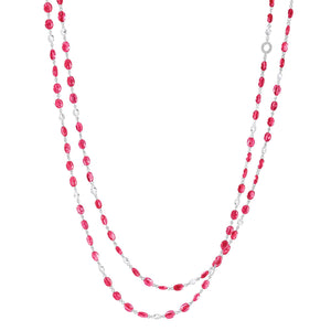 64Facets Elements Gemstone Cabochon Bead Necklace with Red Rubies and Rose Cut Diamonds in 18K White Gold