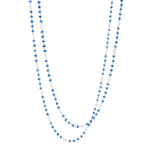 64Facets Elements Gemstone Cabochon Bead Necklace with blue sapphires and Rose Cut Diamonds in 18K White Gold