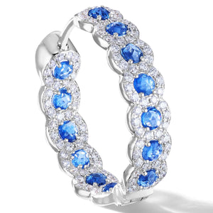 Elements rose cut sapphire hoop earrings in micro pave setting in 18K white gold
