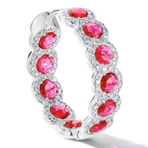 Elements rose cut ruby hoop earrings in micro pave setting in 18K white gold