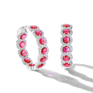 64facets rose cut ruby hoop earrings with diamond pave accents in 18k white gold