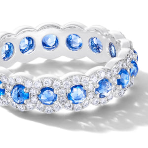 64 Facets Elements Sapphire and Diamond Band with pave accents and 18K gold
