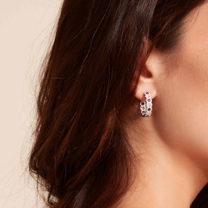 64Facets Elements Rose Cut Ruby and Diamond Hoop Earrings in 18K Gold On Beautiful Model Girl