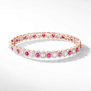 64Facets Ruby and Diamond Bangle Bracelet in 18K Gold