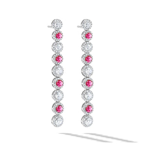 64Facets Ruby and Diamond Drop Dangle Earrings in 18K Gold