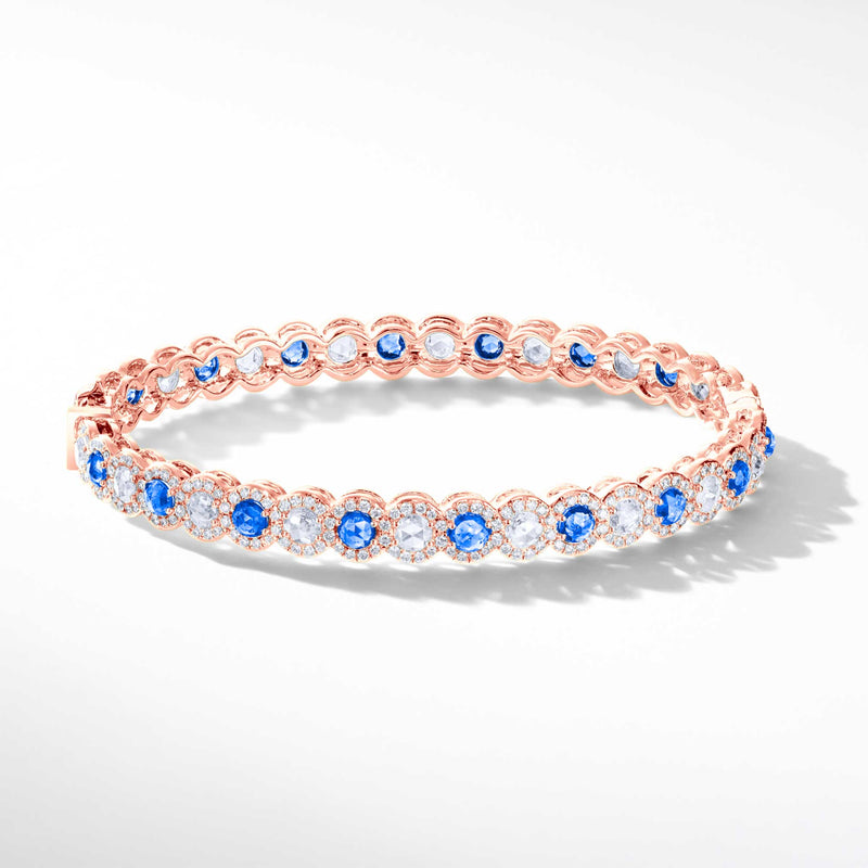64Facets Sapphire and Diamond Bangle Bracelet in 18K Gold