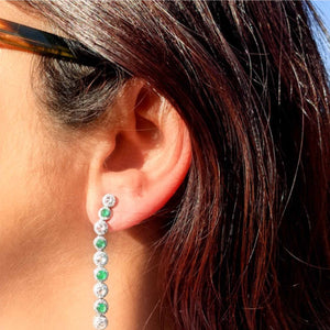 64Facets Emerald and Diamond Dangly Drop Earrings in 18K Gold