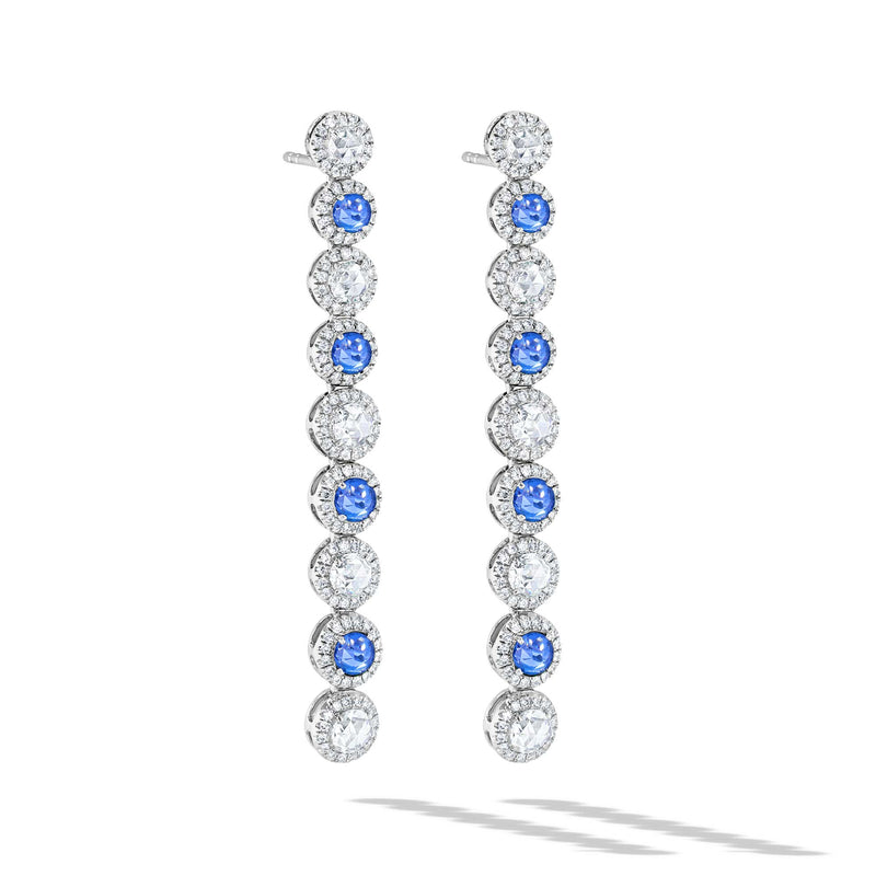 64Facets Sapphire and Diamond Drop Dangle Earrings in 18K Rose Gold