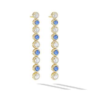 64Facets Sapphire and Diamond Dangly Drop Earrings in 18K Gold