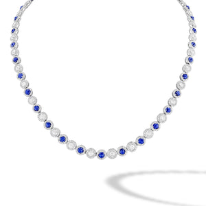 64Facets Sapphire and Diamond Tennis Necklace in 18K Gold