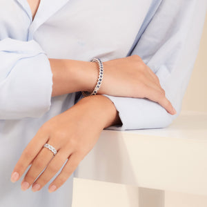 Elements Bangle. Rose-cut sapphire bangle accented with brilliant cut diamonds in micro-pave setting.