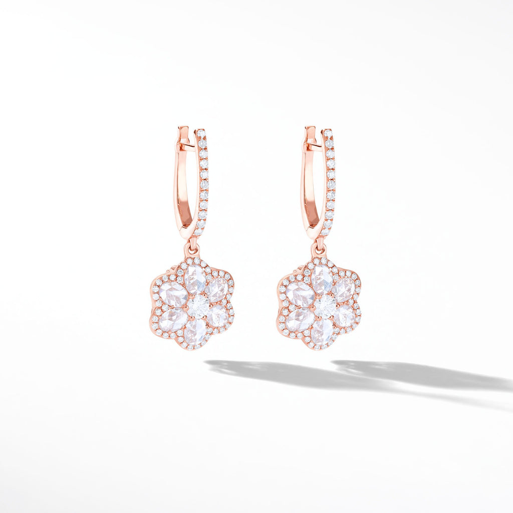 Diamond Floral Earrings. Flower Shaped Diamond Drop Dangly Earrings made with Rose Cut Diamonds in 18K Rose Gold