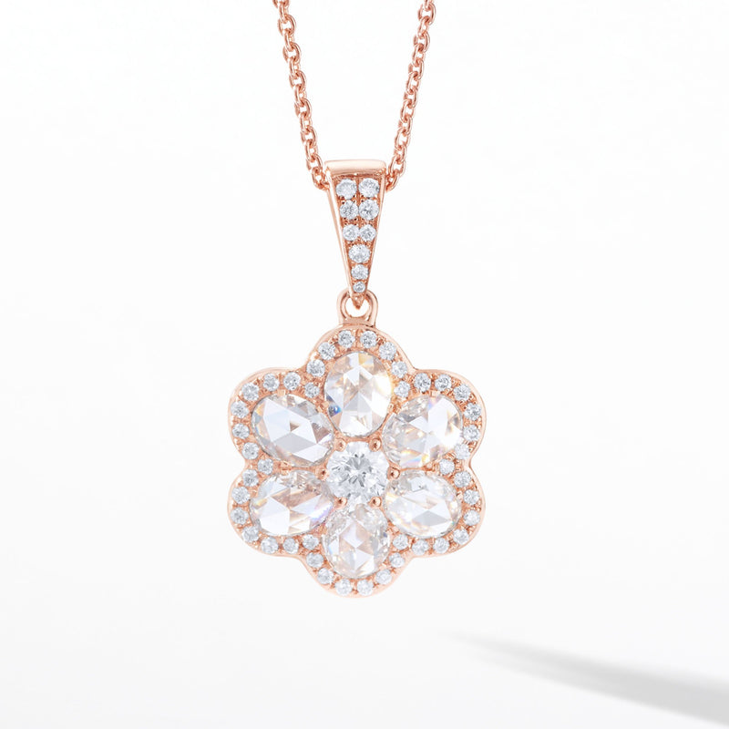 64Facets Floral Diamond Pendant with Seven Rose Cut Diamonds and Pave Accents in 18K Rose Gold
